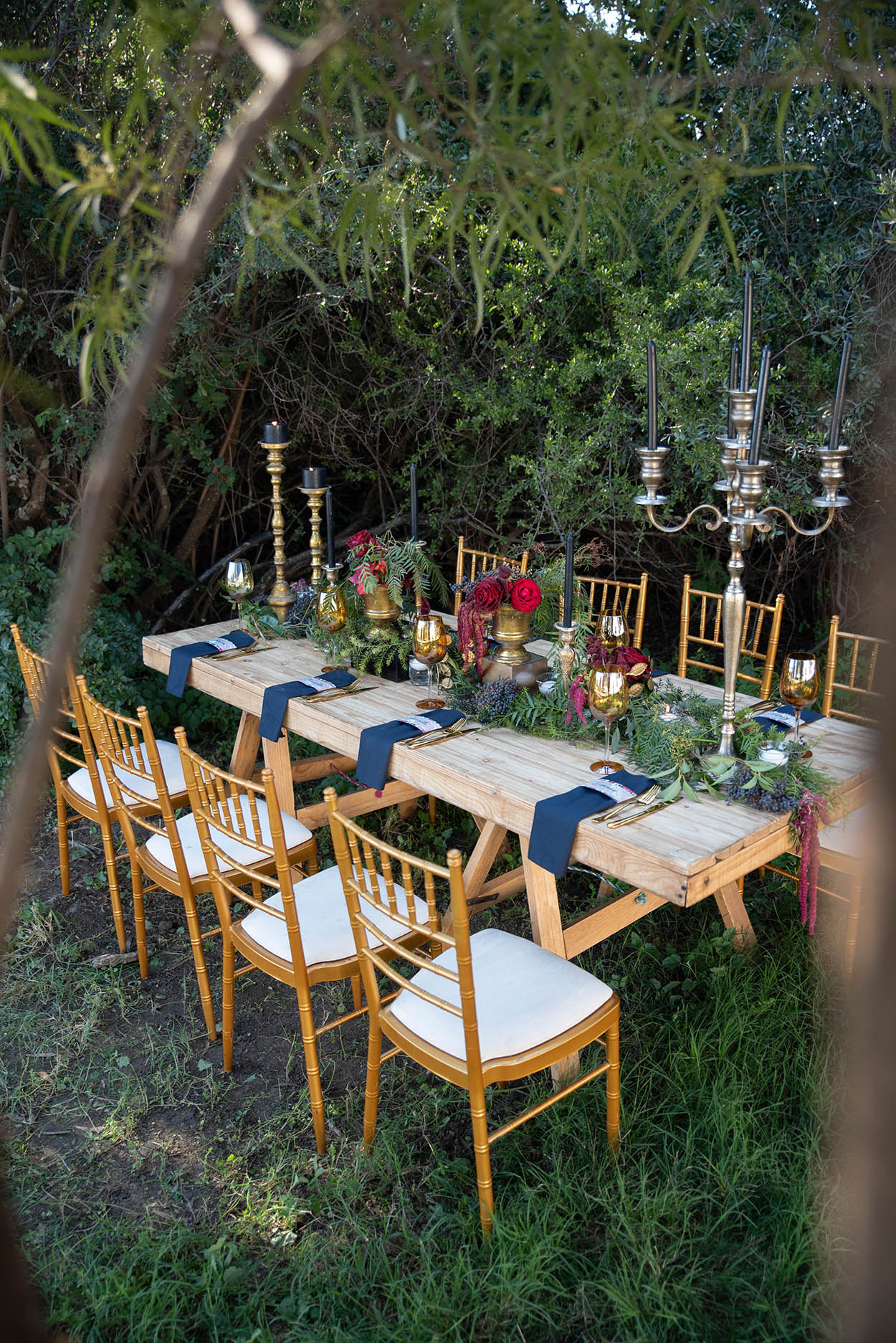 wedding photo by Mudboots at Monte Bello Estate Bloemfontein decor outside navy reg and gold