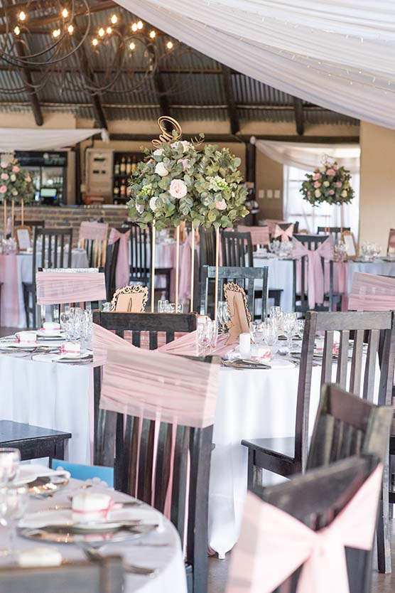 decore wedding venue pink and white roses tres jolie mudboots johannesburg