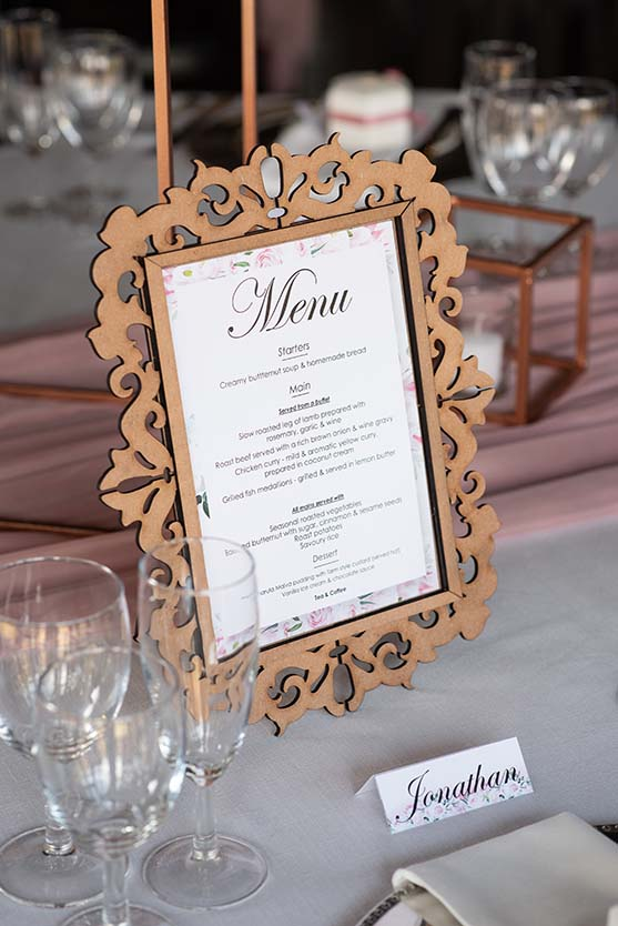 menu on table tres jolie Johannesburg by mudboots photography and film